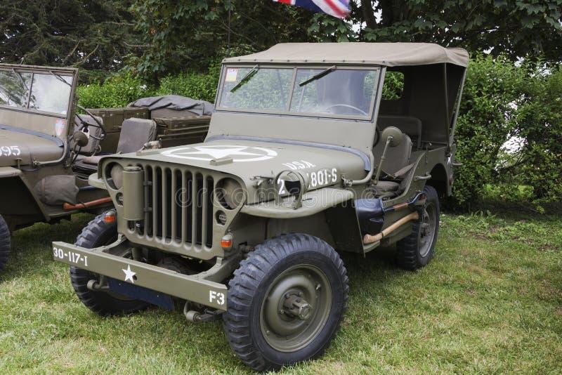 Jeep Willys auf Anzeige lizenzfreies stockbild