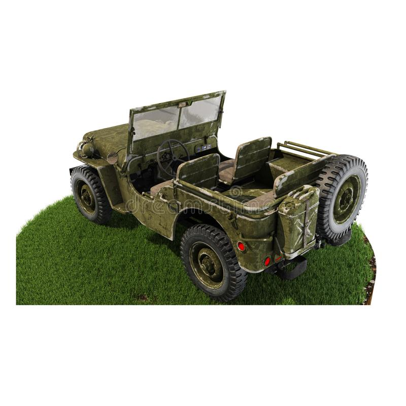 Jeep Willys back piece of land stock photography