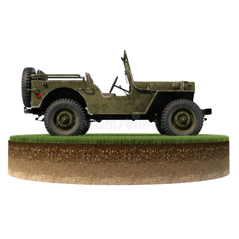 Jeep Willys right piece of land stock photography