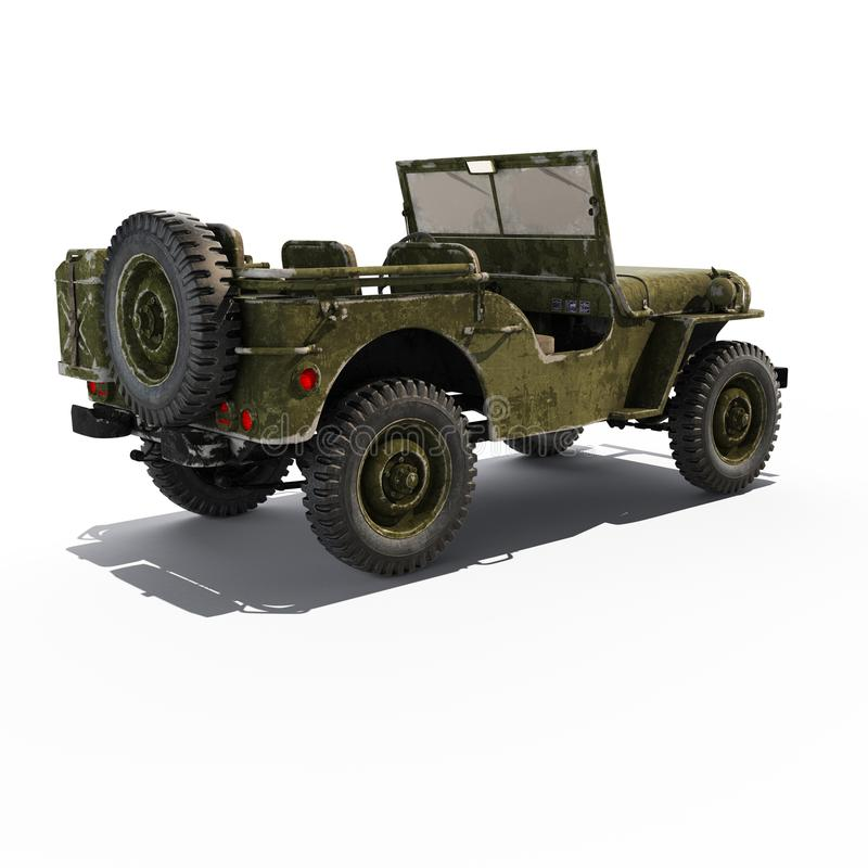 Jeep Willys-rug stock illustratie
