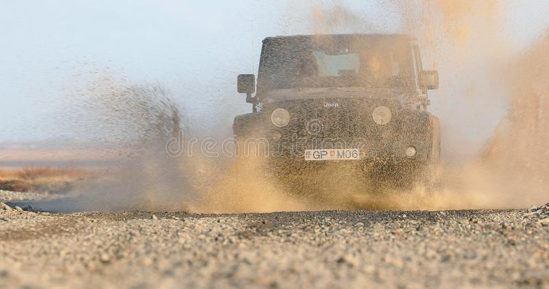 Jeep Wrangler on Icelandic terrain stock image