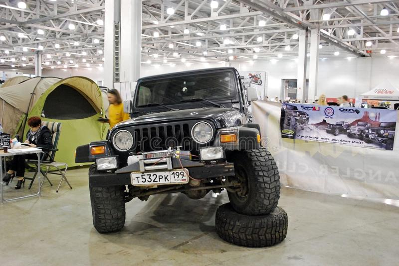 The Jeep Wrangler II car in Crocus Expo 2012. Moscow stock image