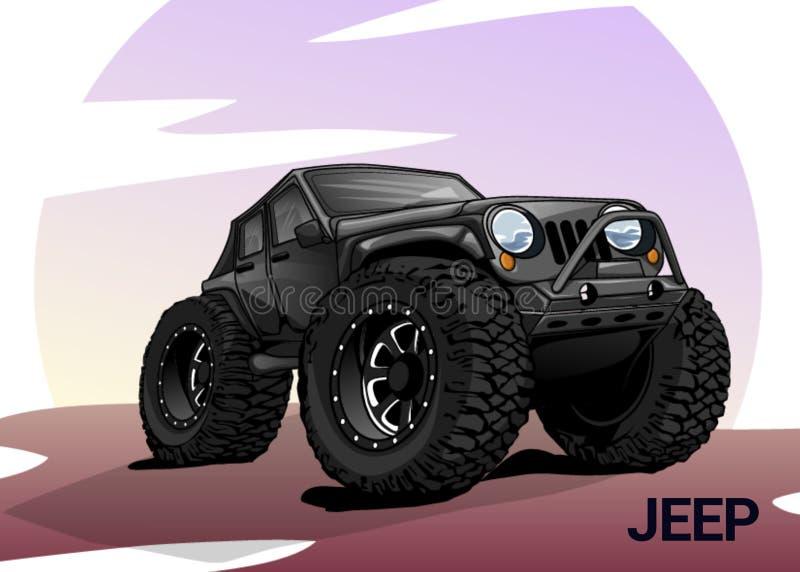 Jeep Wrangler-Karikatur lizenzfreies stockbild