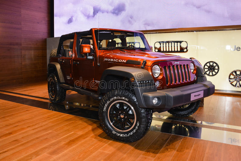 Jeep Wrangler Rubicon al salone dell'automobile di Ginevra fotografia stock
