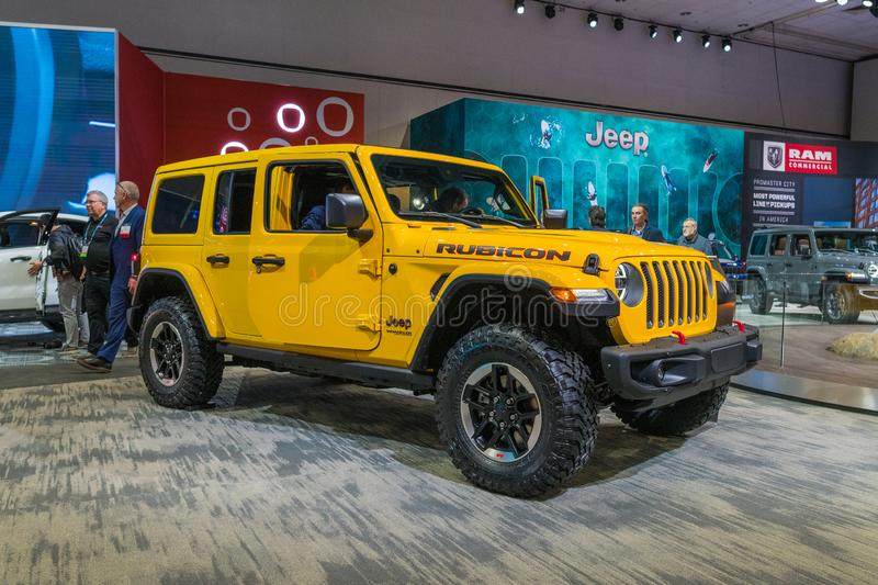 Jeep Wrangler Rubicon on display during Los Angeles Auto Show stock images