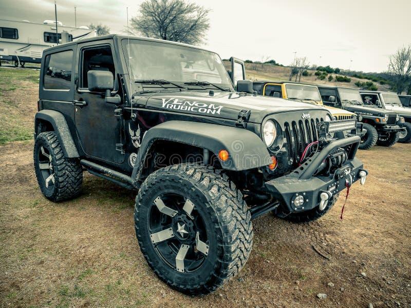 Jeep Wrangler Rubicon nero fotografie stock