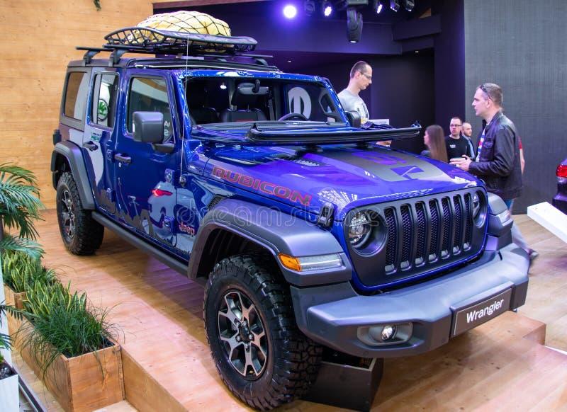 Jeep Wrangler Rubicon sul cinquantaquattresimo salone dell'automobile internazionale dell'automobile e di Belgrado fotografia stock
