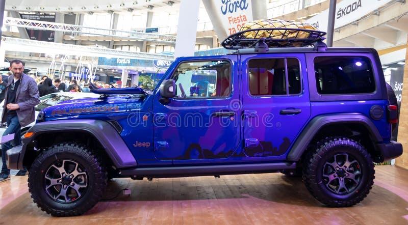Jeep Wrangler Rubicon sul cinquantaquattresimo salone dell'automobile internazionale dell'automobile e di Belgrado fotografia stock libera da diritti