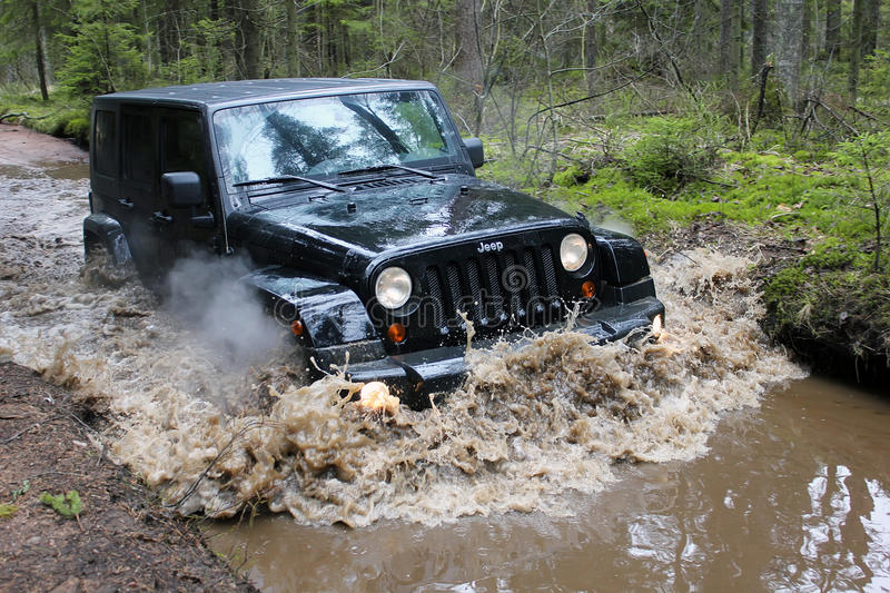 Jeep wrangler in Russia royalty free stock photography