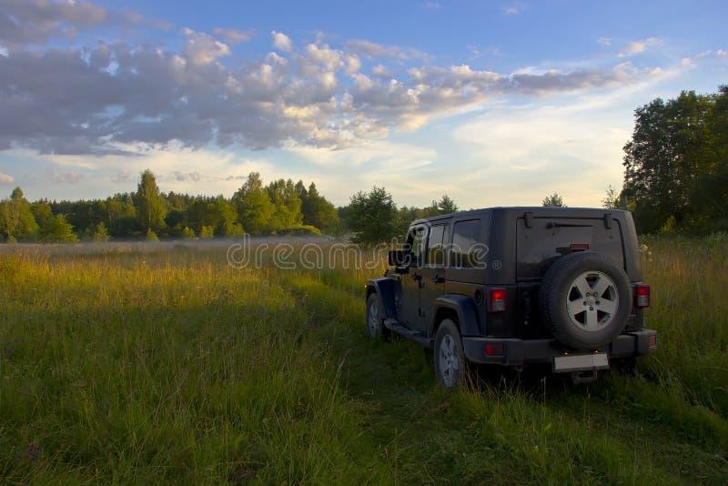 Jeep Wrangler Sahara illimitato nella foresta, Russia fotografia stock