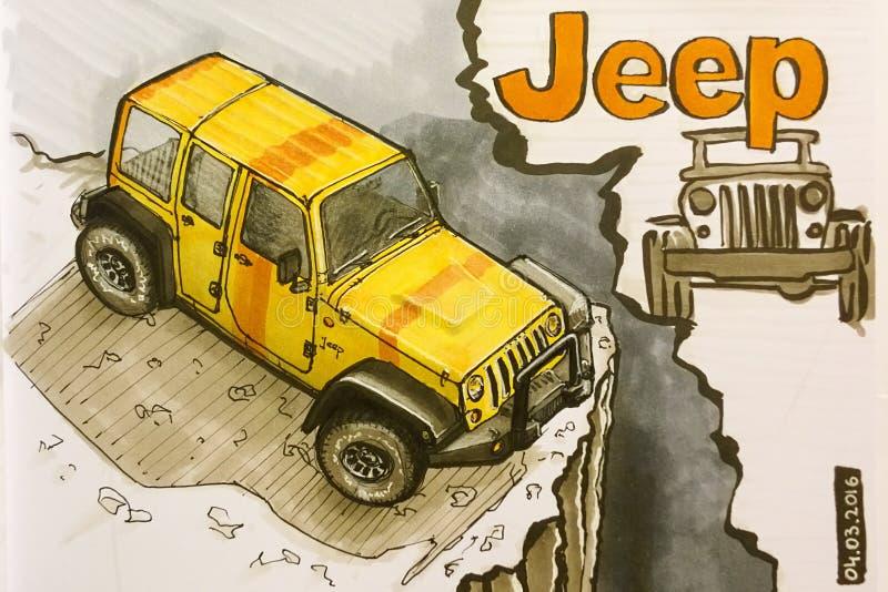 Jeep Wrangler-tekening royalty-vrije stock fotografie