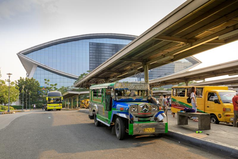 Jeepney public transportation at Mall of Asia shopping mall in Pasay, Manila city stock images