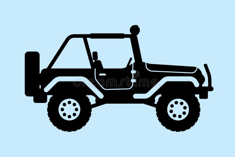 Jeepsilhouet royalty-vrije stock afbeelding