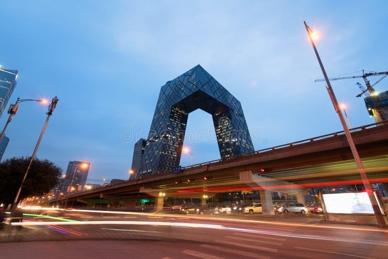 Jefaturas del CCTV en Pekín, China imagen de archivo