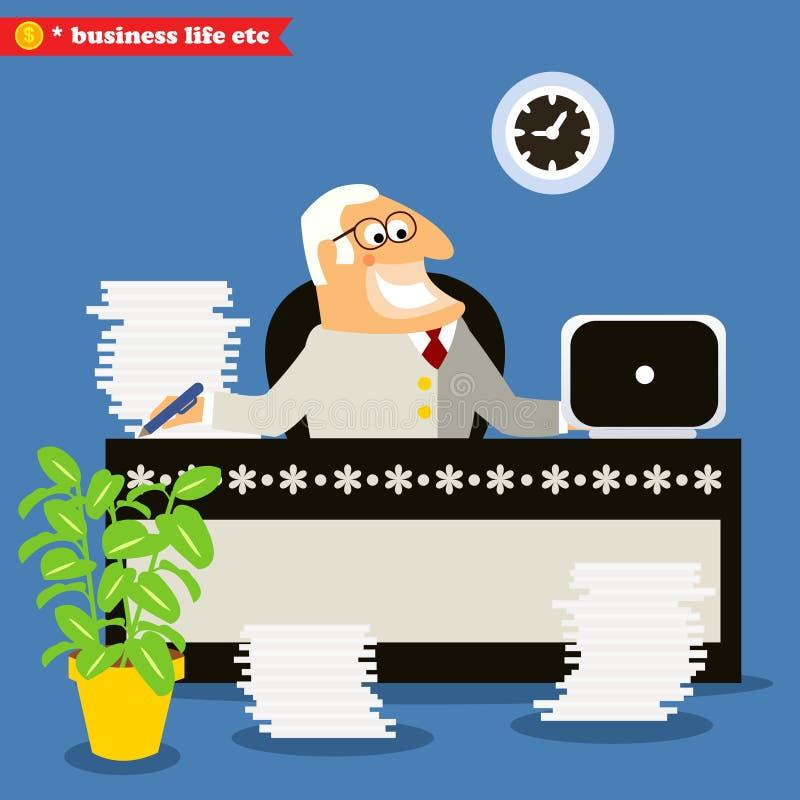 Jefe americano en el escritorio stock de ilustración