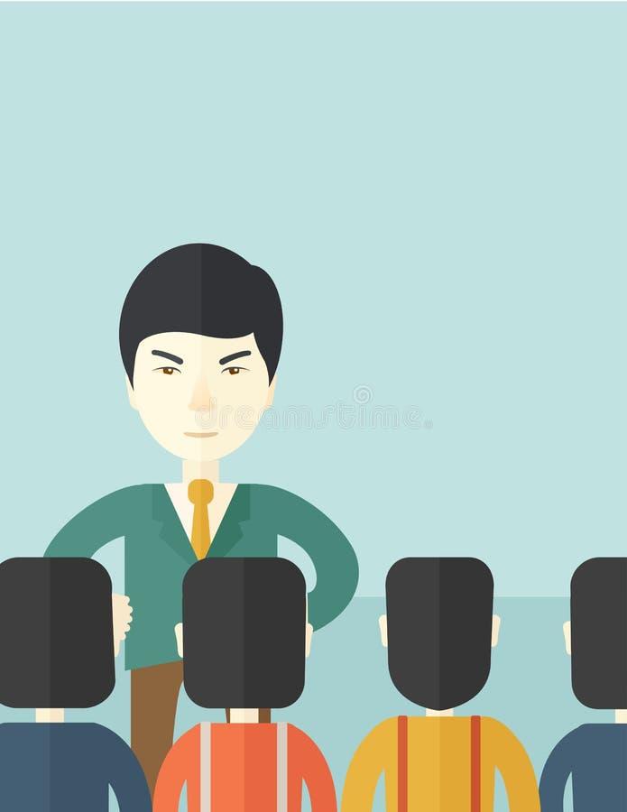 Jefe asiático enojado con sus empleados libre illustration