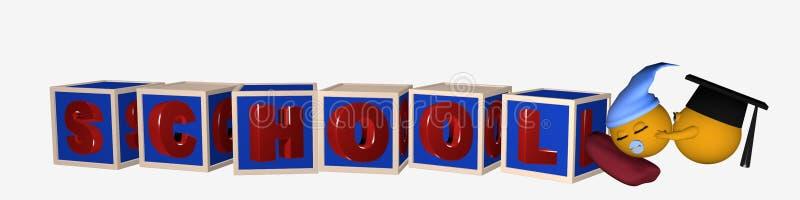 Jefe/bandera con las letras alfabéticas que muestran el schoo de la palabra ilustración del vector