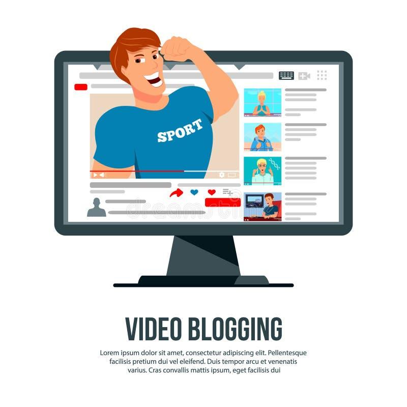 Jefe Blogging video del carácter ilustración del vector