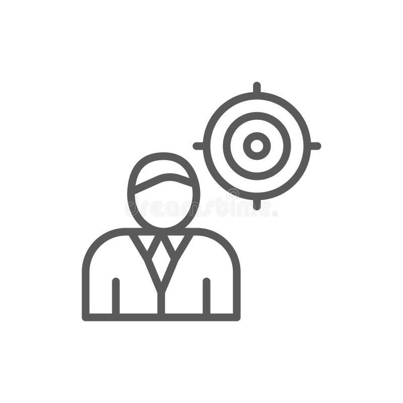 Jefe con la blanco, presidente, línea de líder icono stock de ilustración