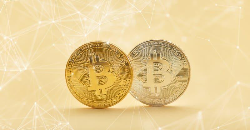 Jefe de Bitcoin con el fondo del blockchain de la red foto de archivo libre de regalías