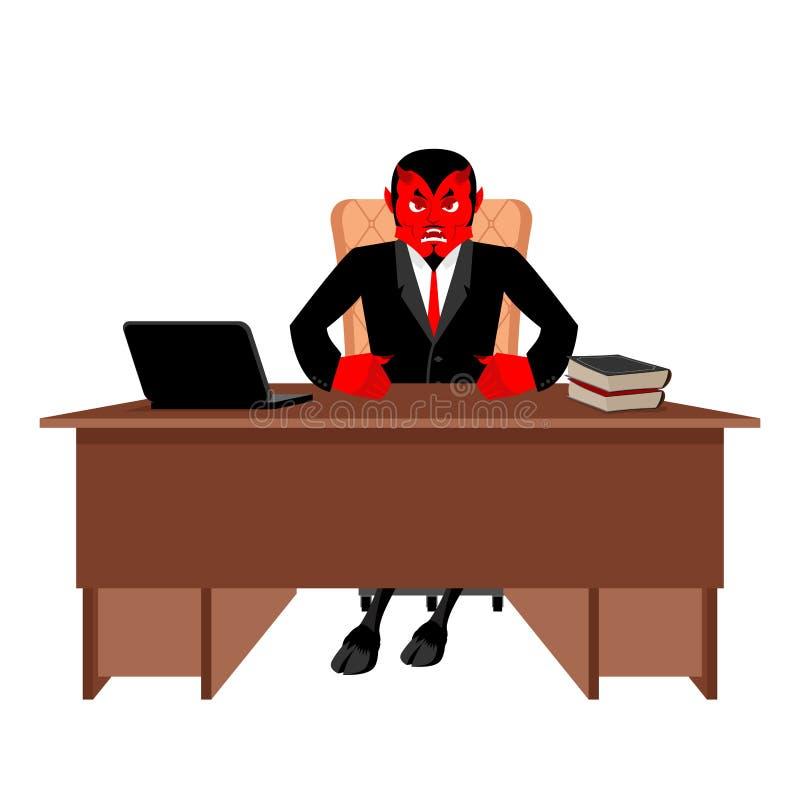 Jefe de Diablo que se sienta en oficina Diablo del lugar de trabajo Demonio rojo en libre illustration