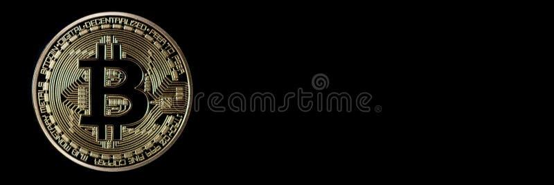 Jefe de la bandera de Bitcoin Moneda de oro Cryptocurrency con el espacio para imagen de archivo