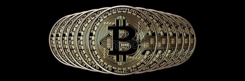Jefe de la bandera de Bitcoin Moneda de oro Cryptocurrency con el espacio para fotos de archivo