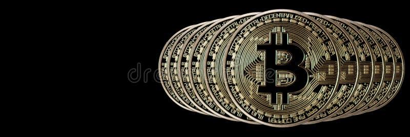 Jefe de la bandera de Bitcoin Moneda de oro Cryptocurrency con el espacio para imagenes de archivo