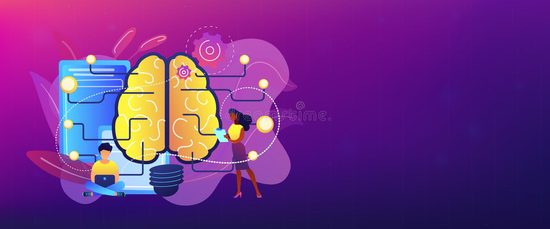 Jefe de la bandera del concepto de la inteligencia artificial libre illustration