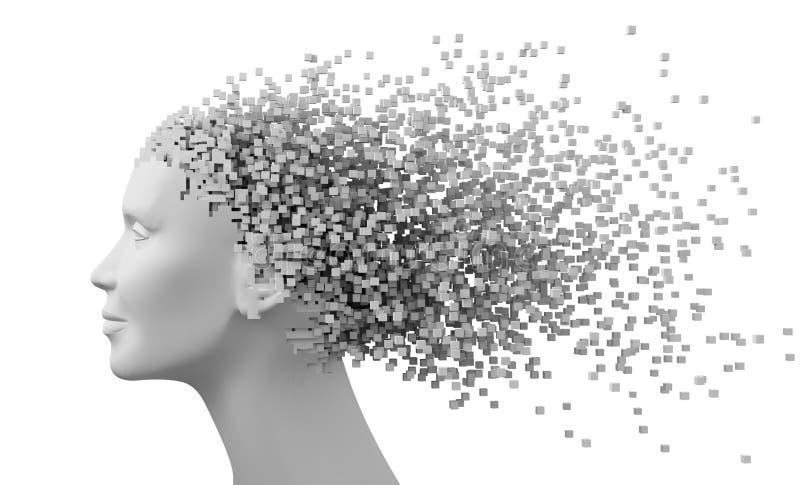 Jefe de la mujer y de los pixeles 3D como pelo aislado en el fondo blanco libre illustration