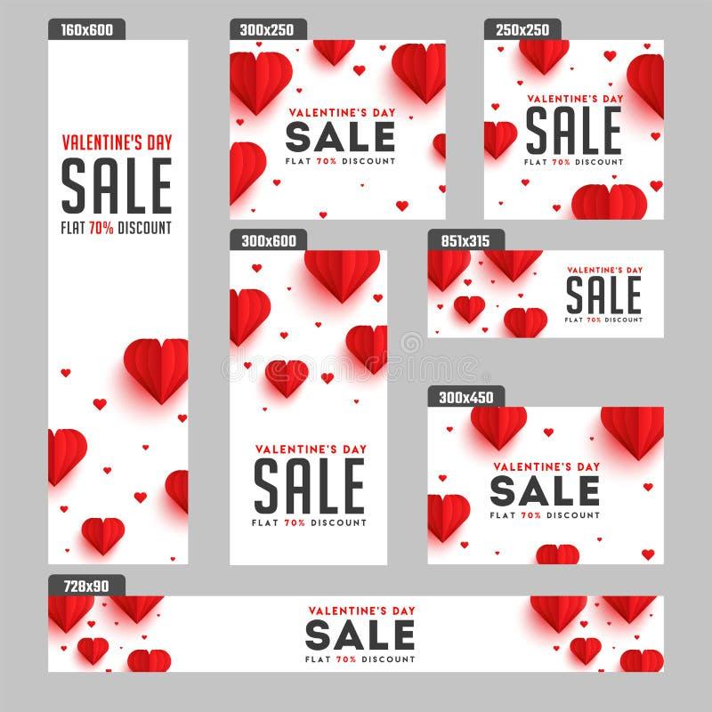 Jefe de la venta del día de tarjeta del día de San Valentín y sistema de la bandera libre illustration