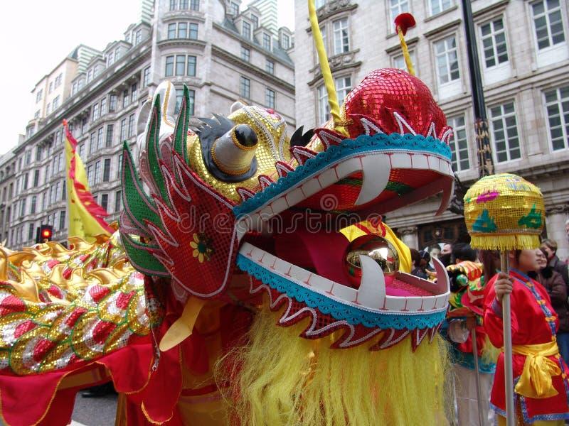 Jefe del baile chino del dragón fotografía de archivo