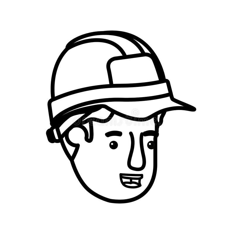 Jefe del carácter del avatar del constructor del hombre libre illustration