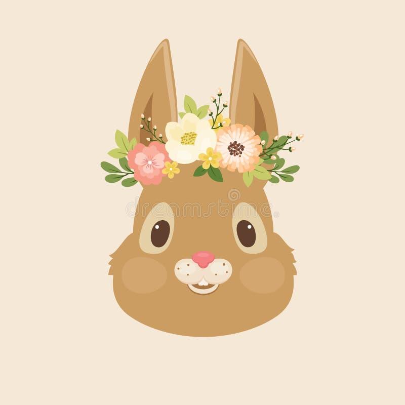 Jefe del conejo/del conejito en una guirnalda floral ilustración del vector