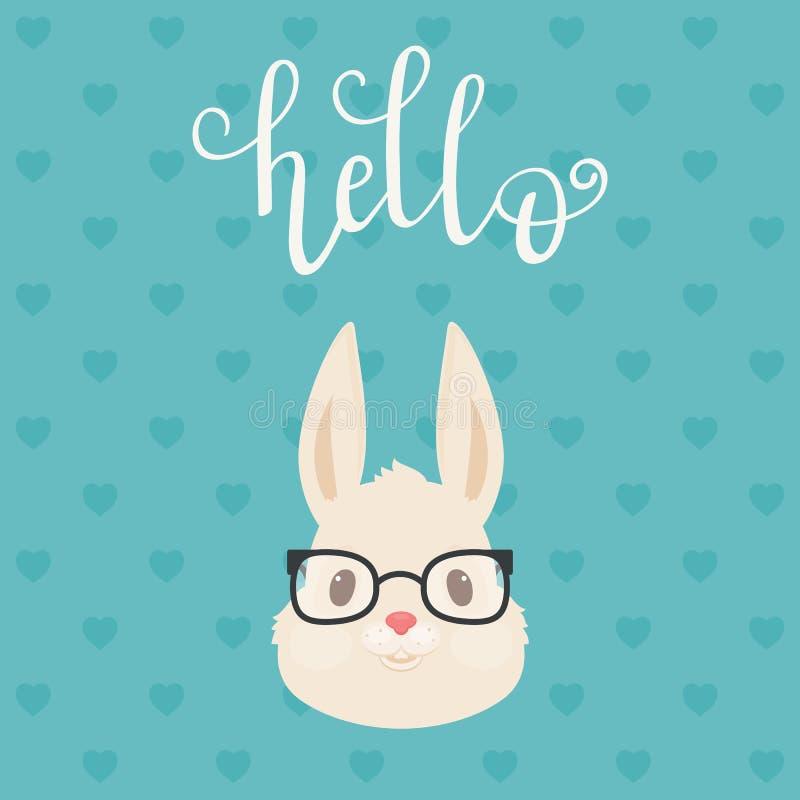 Jefe del conejo/del conejito en vidrios ilustración del vector