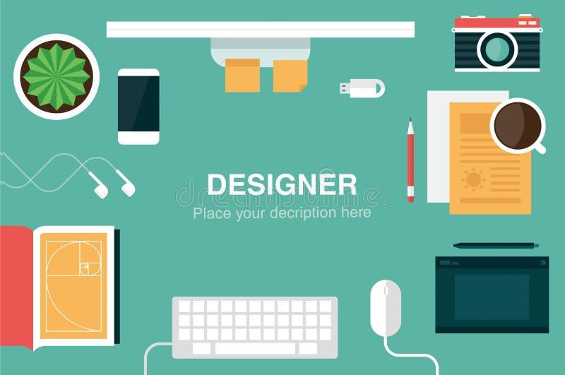 Jefe del escritorio del diseñador ilustración del vector