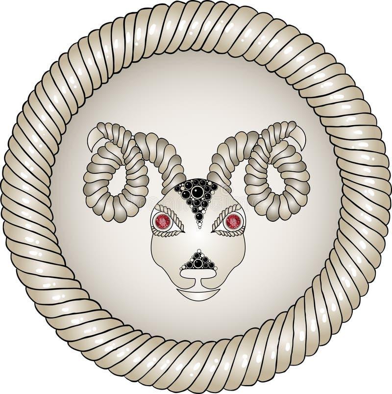 Jefe del espolón. Muestras del zodiaco (aries). ilustración del vector
