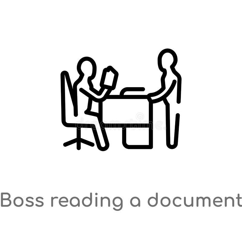 jefe del esquema que lee un icono del vector del documento l?nea simple negra aislada ejemplo del elemento del concepto del negoc ilustración del vector