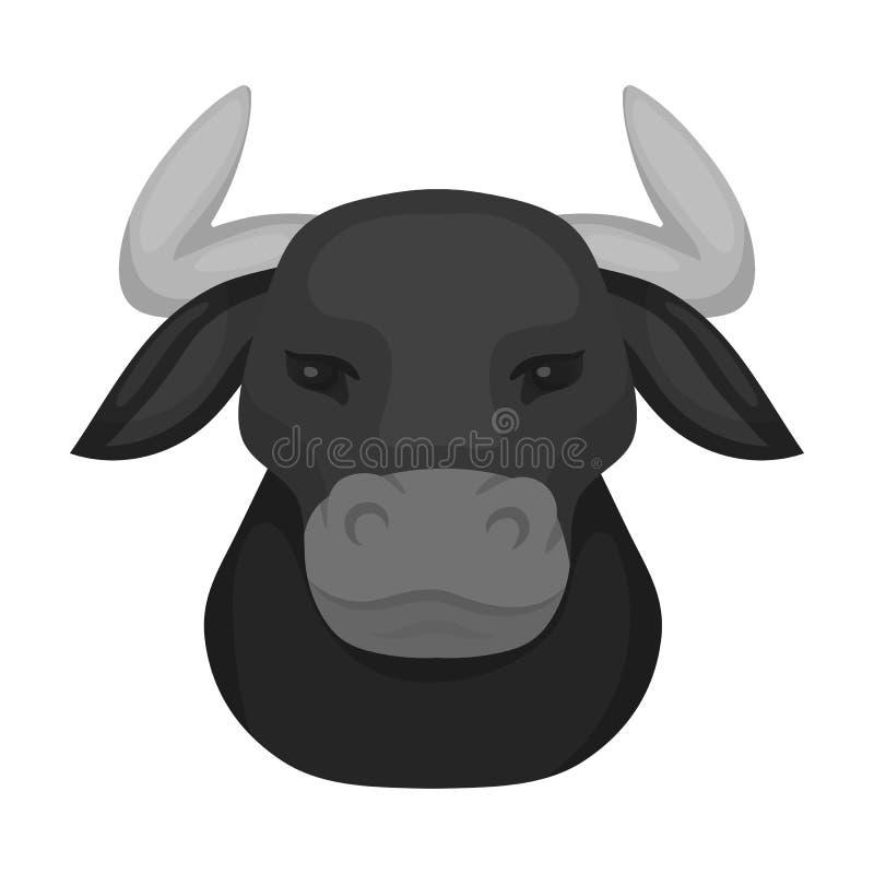 Jefe del icono del toro en estilo monocromático aislado en el fondo blanco Ejemplo del vector de la acción del símbolo del país d ilustración del vector
