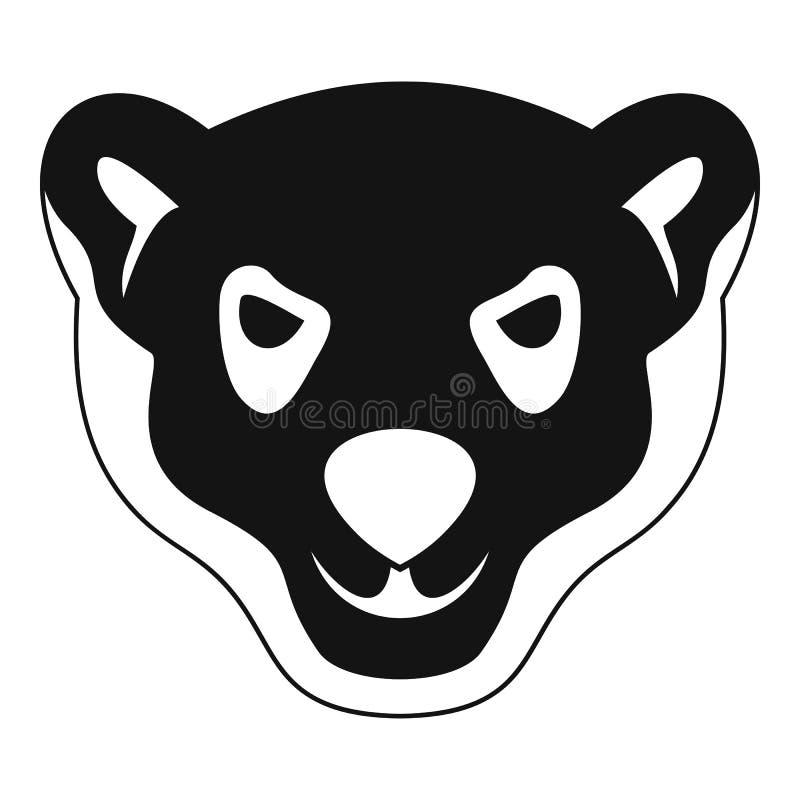 Jefe del icono furioso del oso polar, estilo simple stock de ilustración