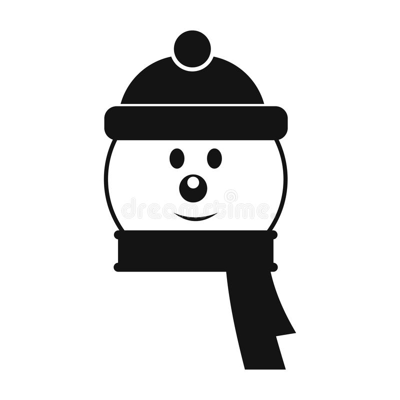 Jefe del icono simple del muñeco de nieve stock de ilustración