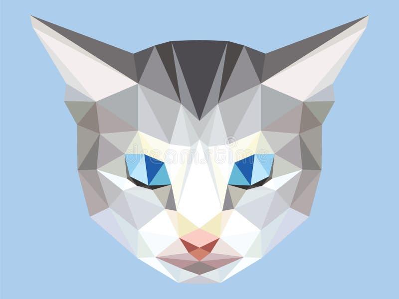 Jefe del polígono bajo con los ojos azules, cara animal geométrica del gato gris libre illustration
