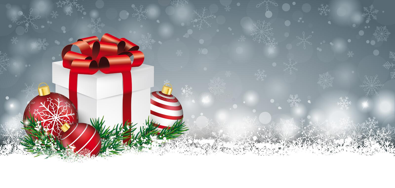 Jefe del regalo de las ramitas de Gray Christmas Card Snow Baubles ilustración del vector