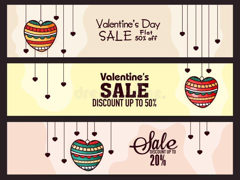 Jefe del sitio web de la venta para el día de tarjeta del día de San Valentín stock de ilustración