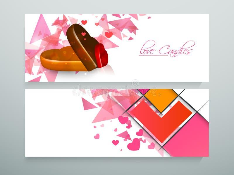 Jefe del sitio web de los caramelos del amor o sistema de la bandera stock de ilustración