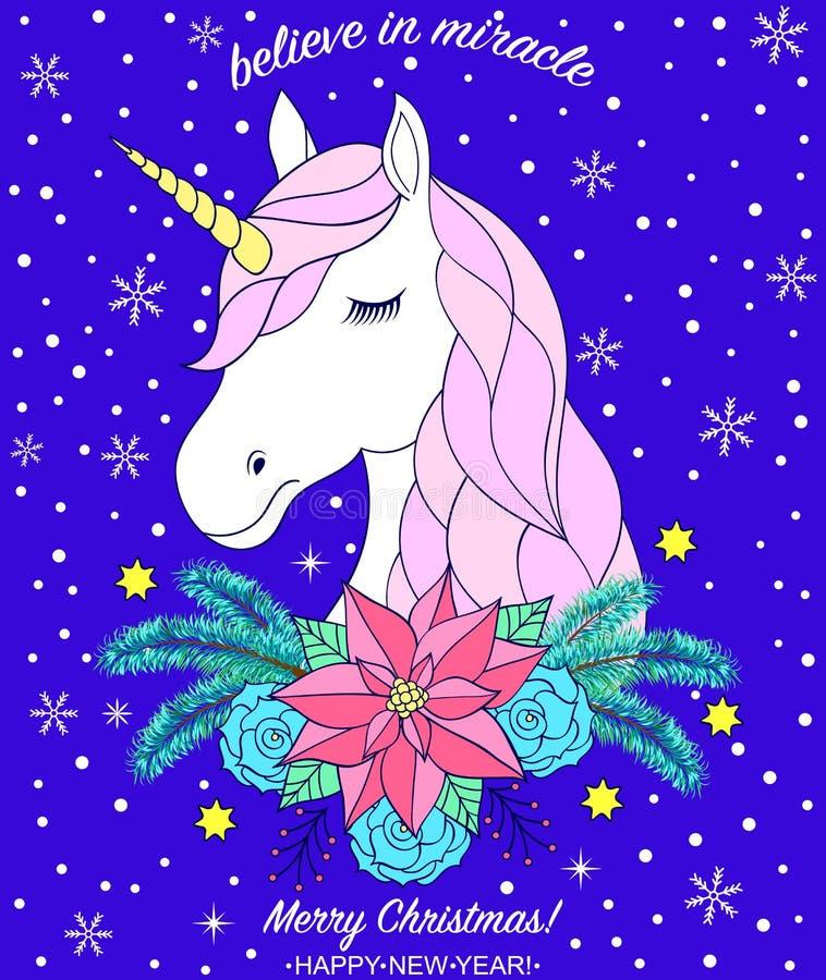 Jefe del unicornio dibujado mano ilustración del vector