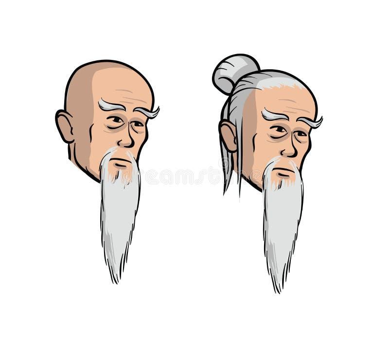 Jefe del viejos hombres asiáticos, ejemplo aislado historieta del vector Fije de dos cabezas aisladas libre illustration