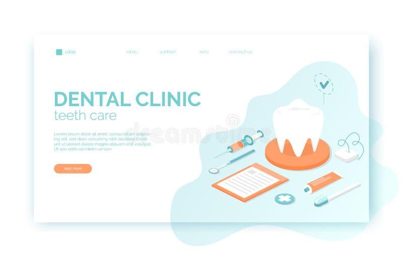 Jefe dental de la página web de la clínica, bandera, plantilla del aviador en estilo plano isométrico con el diente, cepillo, cre ilustración del vector