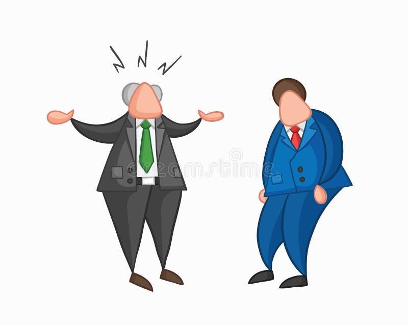 Jefe enojado del vector a mano con el trabajador del hombre de negocios libre illustration