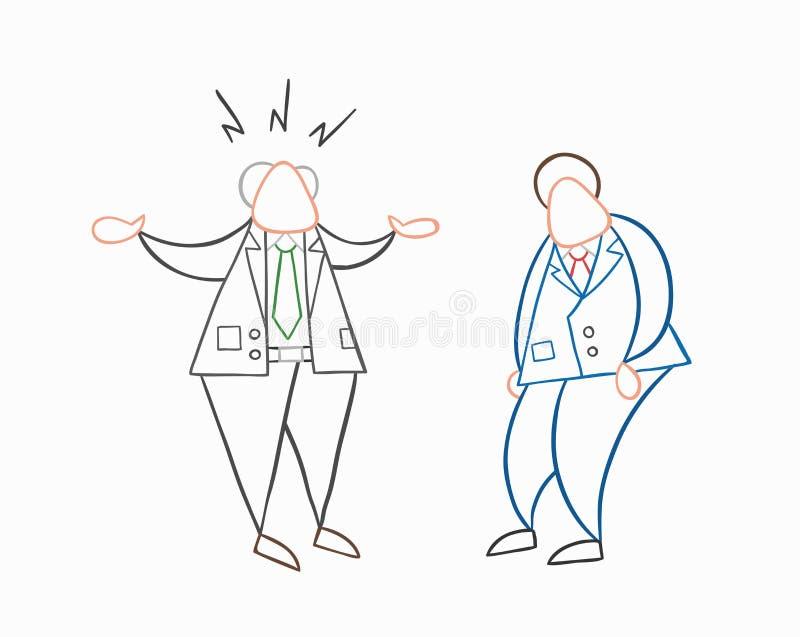 Jefe enojado del vector a mano con el trabajador del hombre de negocios ilustración del vector